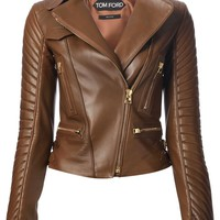 Tom Ford wide collar biker jacket