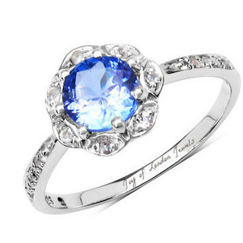 A Genuine 1CT Blue Tanzanite & White Topaz Floral Halo Platinum Engagement Ring