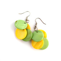 Yellow mint green earrings, dangle earrings, shell discs earrings, summer jewelry, cluster earrings, minimal jewelry