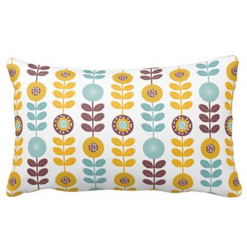 Retro Floral Flower Pattern Customized Color Throw Pillows