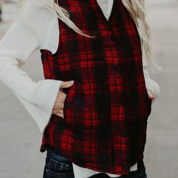 Red Plaid Buttons Zipper Pockets Collarless Casual Chiffon Vest