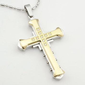 Stainless Steel Medieval Gothic Cross Necklace & Pendant