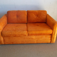 Amazing Orange Tangerine Velvet Tufted Love seats 1 Available