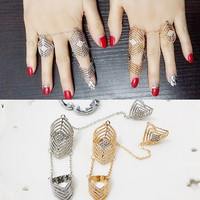 Crystal Two Finger Rings For Party Women Punk Rings Hollow Out Flower Full Finger Ring Set Brand Anel Fashion Jewelry