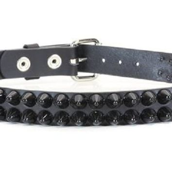 "2-Row Black 1/2"" Dome Cone Head Studded Black Leather Belt 1-1/4"" Wide"