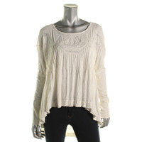 Free People Womens Slub Open Back Casual Top