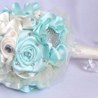 Mint green brooch bouquet, Pearl brooch bouquet, Bridal bouquet, Satin ribbon brooch wedding bouquet, Faux bouquet, Ivory brooch bouquet
