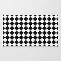 Black And White Diamonds-Checkered Area & Throw Rug by Inspired By Fashion