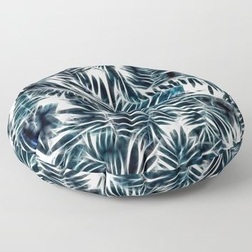 Neon Palm Leafs Pattern, dark green, blue tones tropical nature theme, sunny beach design Floor Pillow by hmdesignspl