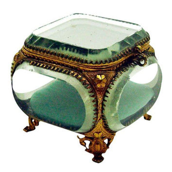Vintage French Beveled Mirrored Glass & Ormolu Box