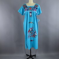 Aqua Blue Vintage Mexican Dress / Oaxacan Embroidered Caftan