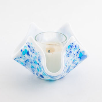 Modern Candle Holder, Blue and White, Fused Glass, Tealight Holder, Turquoise Room Decor, Candle Lighting, Table Decorations, Small Gifts