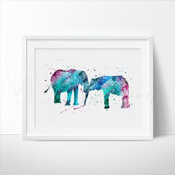 Elephant Family 3 Watercolor Art Print