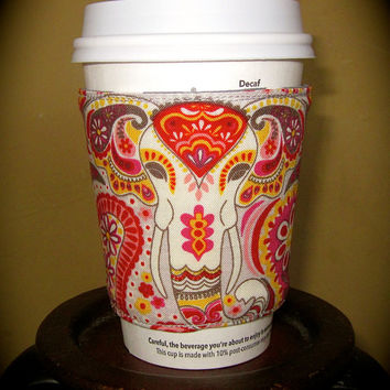Coffee Cup Sleeve Cozy-   Paisley Elephant with Reversible Grey and White Polka Dots.