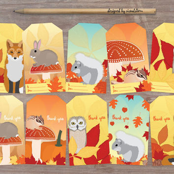 Autumn Animal Gift Tags Printable Woodland Fall Hang Tags Fall Party Favors Red Fox Rabbit Squirrel Chipmunk Owl Illustrated Animal Gift Tag