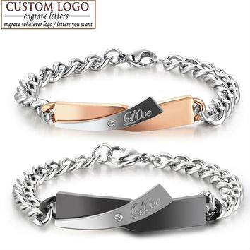 Custom-made For You Name Bracelet Stainless Steel Bracelets For Women Men Crystal Love Bangle Engrave Personalization Name Logo