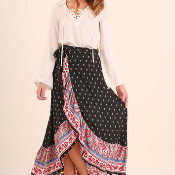 Scalloped Boho Maxi Skirt