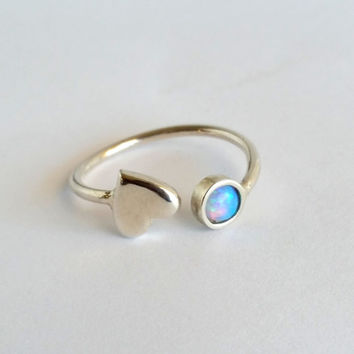 SALE! Blue Opal ring,Gemstone ring,October Stacking Ring,silver Ring,Blue Ring,Personalized Ring,Dual Ring,Birthstone Ring