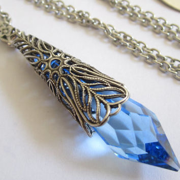 Blue Glacier - Swarovski Necklace - Filigree Necklace - Fantasy Jewelry- Bridal Necklace - Crystal jewelry - Pendant - Prom necklace