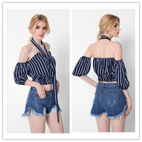 Fashion Casual Female Irregular Stitching Stripe Strapless Low Chest Split Five Sleeves Strap Accessories Crop Top Cotton Shirt