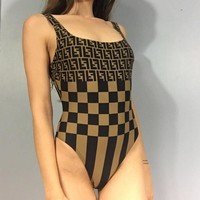 Fendi Fashion Summer Beach Women Classic F Letter Tartan Stripe Print Vest Type Backless One Piece Bikini Swimsuit Coffee I12605-1