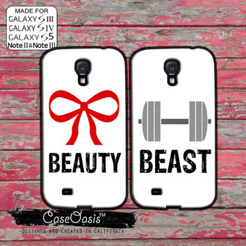 Beauty Beast Matching Pair Couple Gym Bow Weights Cute White Custom Galaxy S5 and S4 and S3 Case and Galaxy Note 2 and Note 3 Case
