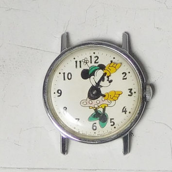 Minnie Mouse Wind Up Watch No Band Needs Repair Stainless Steel Hands Move Vintage Walt Disney Collectible Yellow Hands Green Shoes Hat