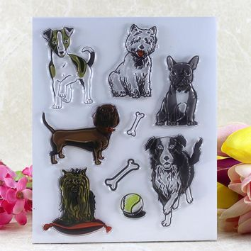 VYUTXA  Lovely Dogs  Transparent Clear Silicone Stamp/Seal for DIY scrapbooking/photo album Decorative clear stamp sheets