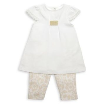 Rosie Pope 2-Piece Cap Sleeve Tunic and Floral Legging Set in Ivory/Gold