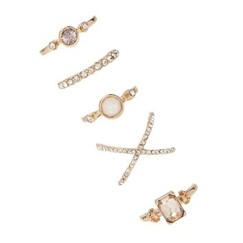 Rhinestone Crisscross Ring Set
