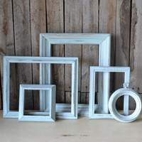 Light Blue Shabby Chic Distressed Wooden Frames - Set of 5
