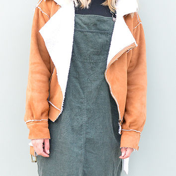 Faux Shearling Biker Jacket in Warm Caramel