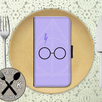 Purple Glasses And Lightening Bolt Symbol Cute Wallet Phone Case For iPhone 4 and 4s and iPhone 5/5s and 5c iPhone 6 and 6 Plus
