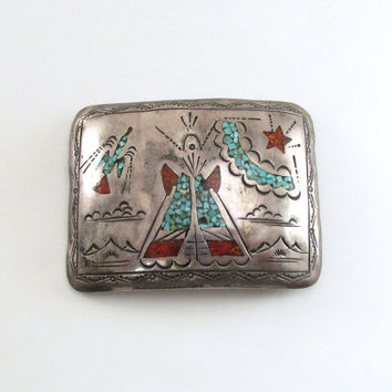 Native American Belt Buckle 43 Grams, Vintage Sterling,Turquoise, Coral Inlay Buckle, Navajo Indian Belt Buckle, Teepee Design, J. Nezzie