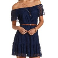 Belted & Tiered Lace Dress by Charlotte Russe