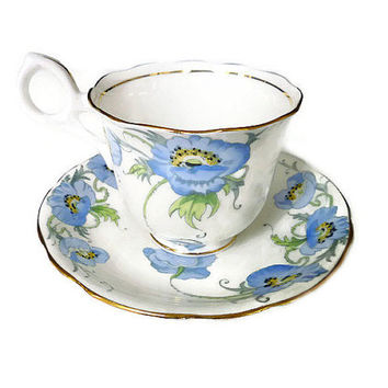 Radfords Teacup Saucer, Poppy Pattern, English Bone China, Fenton, Made in England, Blue Purple Flowers, Tea Accessories, Vintage Drinkware
