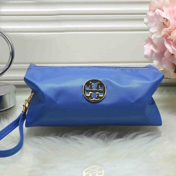 Tory Burch Fashionable Women Zipper Toiletry Handbag Cosmetic Bag Purse Wallet Blue