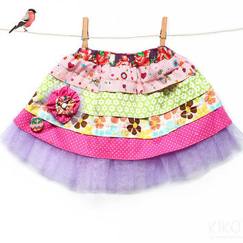 PDF Girls easter ruffle skirt pattern & fabric floral clip / toddler outfits sewing tutorial - sizes 6m to 9 years