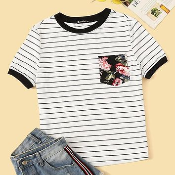Preppy Floral Pocket Patched Striped Ringer T Shirt Women Clothes Round Neck Casual Stretchy Shirt Ladies Tops