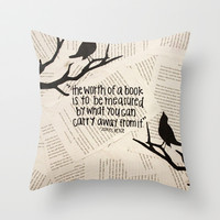 worth of a book Throw Pillow by Courtney Burns