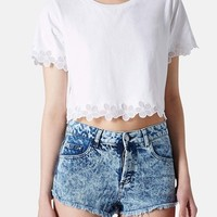 Topshop Organza Trim Crop Tee (Regular & Petite)