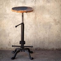 Vintage Bar Stool with Reclaimed Wood Seat