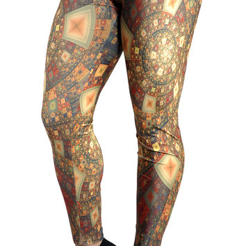 BadAssLeggings Women's Digital Tile Mosaic Leggings Medium Gold
