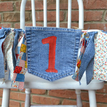 denim high chair banner, red 1, patchwork and denim fabric, upcycled denim,1st  birthday decor, cake smash decor, farm birthday