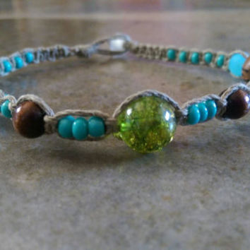 Dainty Colorful Hemp Anklet, Wood Beads, Green Glass, Summer Jewelry, Hemp Anklet, Beach Jewelry, Free Shipping in USA
