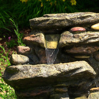 3 tier cascading rock outdoor indoor water fountain with led for garden or yard decor and home made of durable fiber resin
