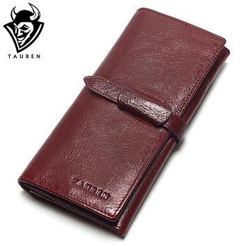 Tauren Retro Wine Red Color Wallets 100% Genuine Cowhide Leather High Quality Women Long Wallet Coin Purse Vintage Designer Male