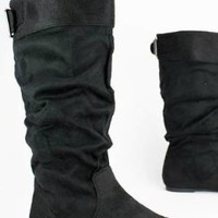 Lori-8 Black Flat Low Heel Tall Mid Calf Buckle Cuff Slouchy Boots