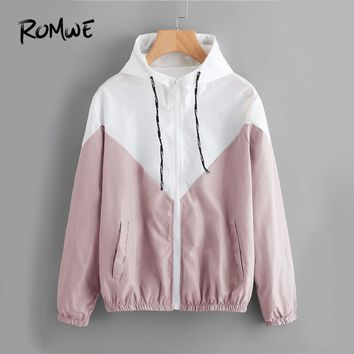 ROMWE Color Block Drawstring Hooded Zip Up Jacket Ladies  Spring Autumn Casual Clothing Women Multicolor Chevron Sporty Coat