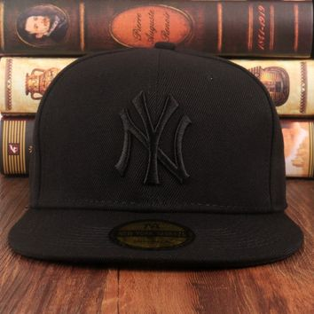 All Black York Yankees Authentic NY Baseball Cap Adjustable Snapback Sport hat